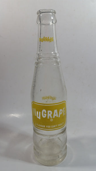 "Vintage Nugrape ""A Flavour You Can't Forget"" 9 1/2"" Tall 10 Fl oz Clear Glass Soda Pop Beverage Bottle"