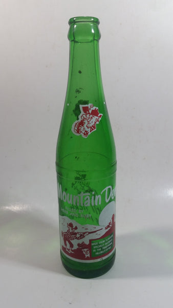 "Vintage 1960s Mountain Dew Filled By Herb and Ruby ""Hillbilly Style"" Green Glass Soda Pop Beverage Bottle ""It'll tickle your innards!"""