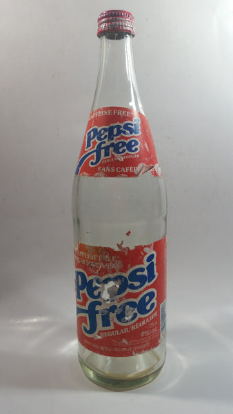 "Vintage Pepsi Free 99% Caffeine Free 11 1/2"" Tall Paper Label 750mL Clear Glass Soda Pop Beverage Bottle with Cap"