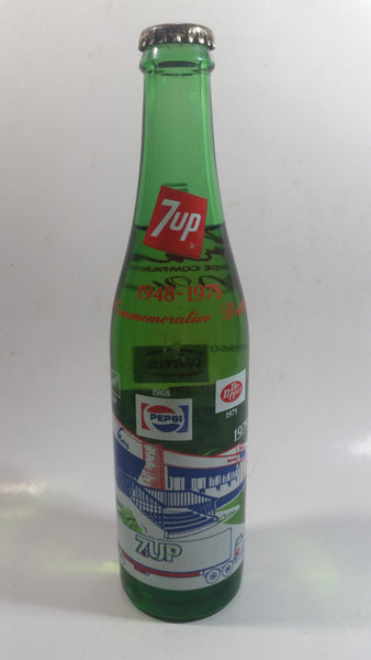 "Vintage 1948 -1978 Gray Beverages Commemorative Bottle 9 1/2"" Tall 10 Fl oz Green Glass Soda Pop Beverage Bottle Still Full"