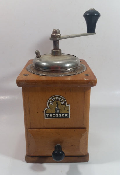 Antique Armin Trosser Wood and Metal Coffee Grinder Made in West Germany