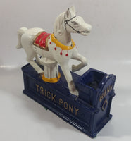 Vintage Trick Pony Horse Blue and White Cast Iron Mechanical Coin Bank