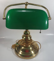 "Vintage Style Curved Green Glass on Brass Bankers Desk Lamp 15"" Tall"