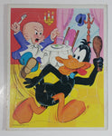 Vintage 1974 Warner Bros. Looney Tunes Elmer Fudd and Daffy Duck Cartoon Characters Frame Tray Puzzle