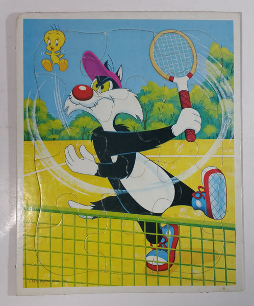 Vintage 1973 Warner Bros. Looney Tunes Sylvester The Cat and Tweety Bird Cartoon Characters Badminton Tennis Scene Frame Tray Puzzle