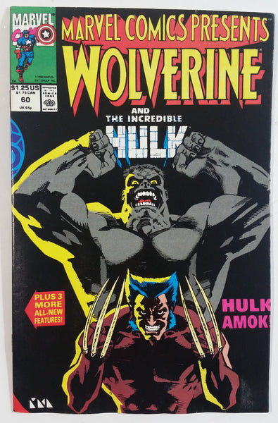 1990 Marvel Comics Presents Wolverine And The Incredible Hulk #60 Hulk Amok! Comic Book