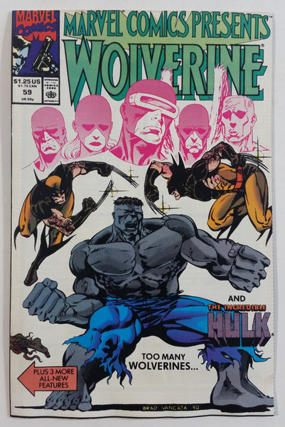 1990 Marvel Comics Presents Wolverine And The Incredible Hulk #59 Too Many Wolverines... Comic Book