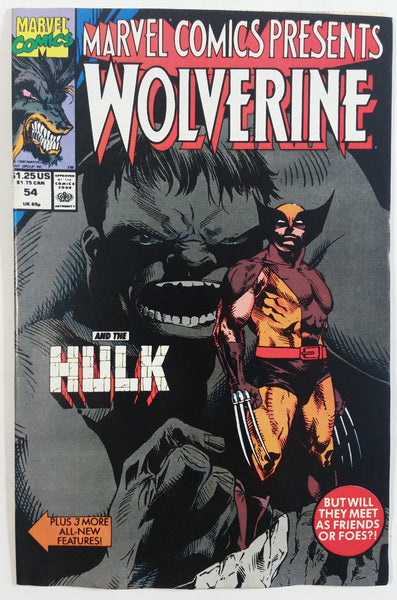 1990 Marvel Comics Presents Wolverine And The Hulk #54 But Will They Meet As Friends Or Foes?! Comic Book