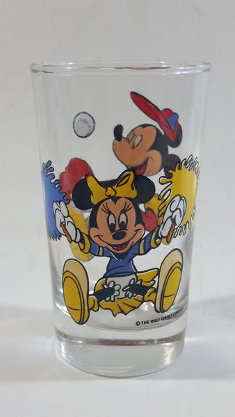 "The Walt Disney Company Mickey Mouse Baseball Player and Minnie Mouse Cheerleader 4 1/2"" Tall Glass Cup"