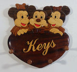 Rare Disney Mickey Mouse with Two Girl Mice Wood Key Holder Plaque Wall Hanging