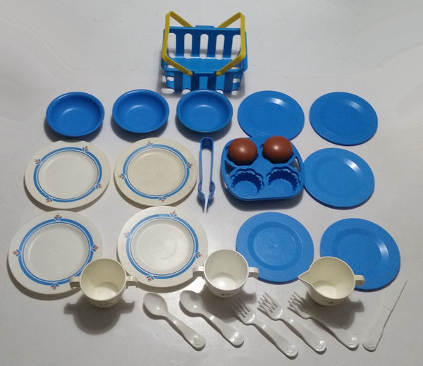 Vintage 1982 Fisher Price #681 Blue and 1987 #2107 White with Flowers Plastic Kitchen Dish Set Lot with 1990 Spectra Shopping Basket No. 8860