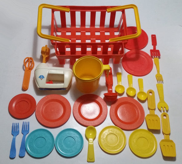 Vintage 1980s Fisher Price Mixed Kitchen Dish Set Lot with Shopping Basket