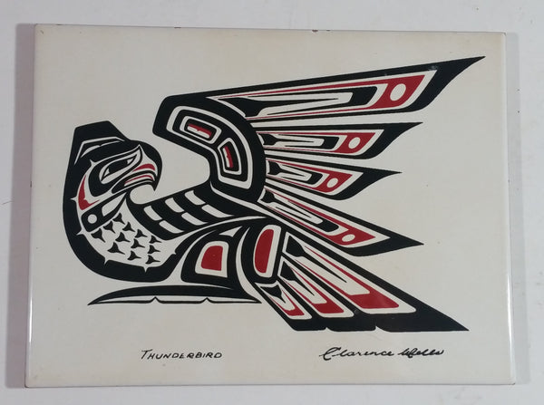 "Clarence A Wells Port Simpson, B.C. ""Thunderbird"" Aboriginal Art Ceramic Tile Trivet"