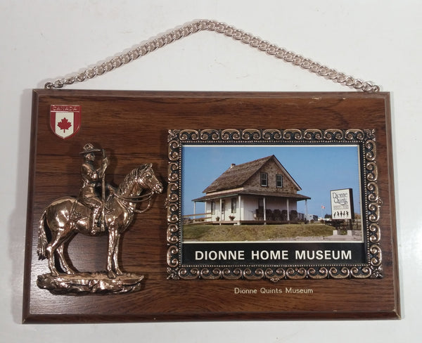 Rare Vintage A & F Canada Dionne Quints Museum Dionne Home Plastic Copper Toned RCMP Wooden Wall Plaque Thermometer Souvenir Travel Collectible