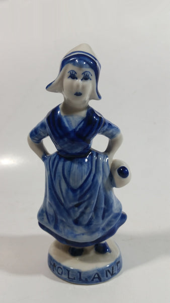 "Vintage Delft Blue Holland Hand Painted 6"" Tall Woman Figure - Has Repairs"