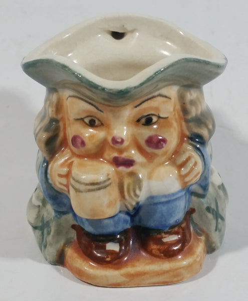 "Antique Toby Style 3"" Tall Man Holding Tankard Eyes Opened Face Mug Hand Painted"