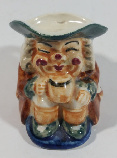 "Antique Toby Style 3"" Tall Man Holding Tankard Eyes Closed Face Mug Hand Painted"