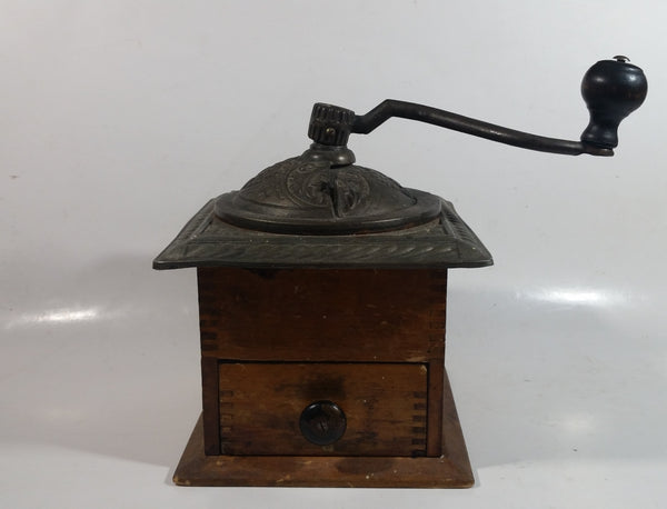 "Antique 1880 Charles Parker No. 403 ""Parker's National"" Dovetail Wood Cast Iron Cast Bronze and Copper Coffee Mill Grinder"