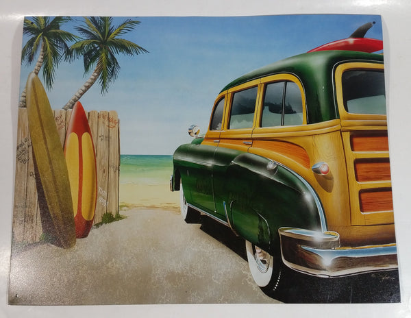 "Ford Woody Wagon Beach and Surfboard Themed 12 1/2"" x 16"" Tin Metal Automotive Sign by Dan Hutchings"