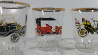 Vintage Six Car Shot Glass Set of Ford, Daimler, Austin, Wolseley, Morris, Roll's Royce Made in France