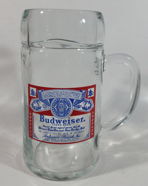 "Vintage Budweiser Lager Beer 8"" Tall Heavy Thick Glass Mug"