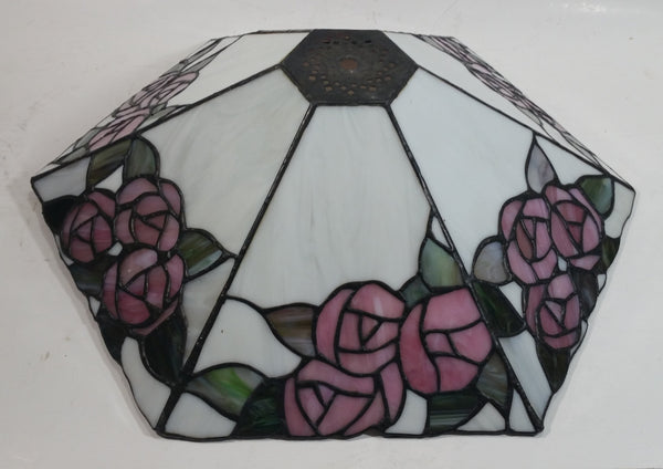 Retro Tiffany Style Slag Leaded Glass White with Pink Flower Decor Lamp Shade