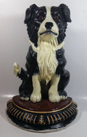 "Vintage Upper Deck 13 1/2"" Tall Hand Painted Cast Iron Border Collie Sheep Dog Door Stop"