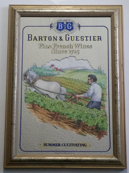 "Vintage Barton & Guestier Fine French Wines Since 1725 ""Summer Cultivating"" Pub Bar Lounge 14 1/2"" x 20 1/2"" Wood Framed Glass Advertising Mirror"