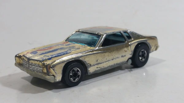 Vintage 1974 Hot Wheels Monte Carlo Stocker Gold Chrome Die Cast Toy Car Vehicle - Made in Hong Kong