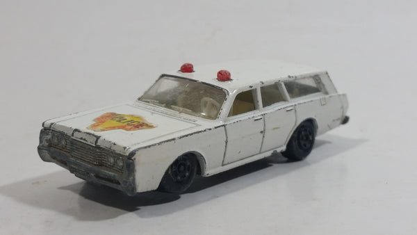 Vintage 1971 Lesney Products Matchbox No. 55 Mercury Police Car Wagon White Die Cast Toy Car Vehicle