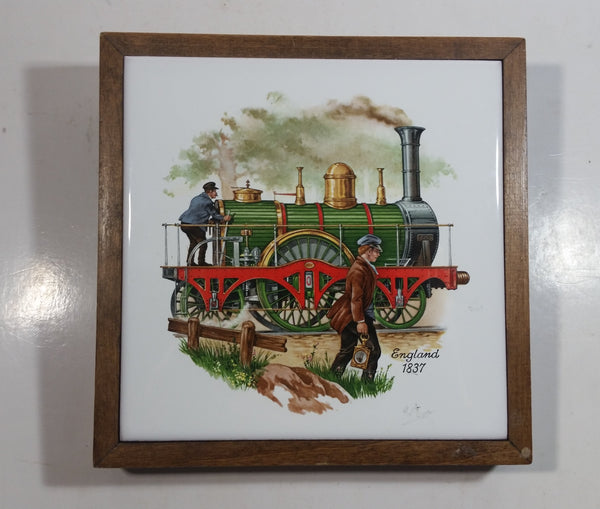 Vintage Train Locomotive England 1837 Wood Framed Ceramic Tile Trivet Railroad Collectible