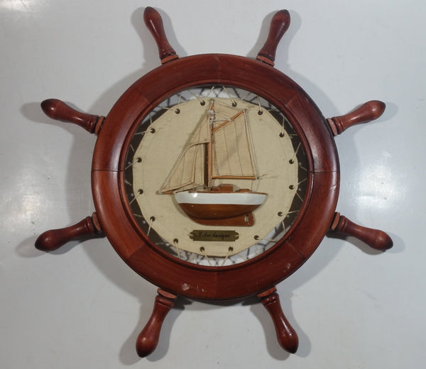 "Vintage Cotre Aurique Sail Boat Ship Cloth and Wood Wooden Ships Wheel 16"" Diameter"