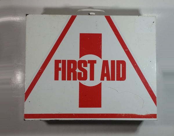 Vintage White and Red Metal First Aid Kit Wall Cabinet Hanging