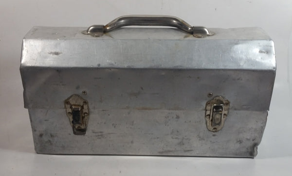 "Vintage L. May Mfg Co. 14"" Wide Polished Riveted Aluminum Metal Miner's Lunch Box"