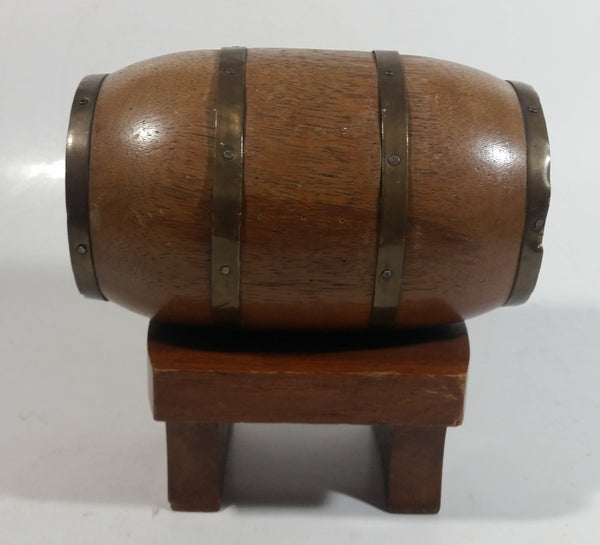"Vintage Heavy Solid Wood Brass Banded Miniature 6"" Long Whiskey Liquor Barrel on Table Style Stand"