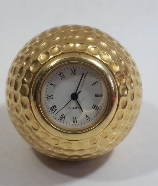 Vintage Gold Brass Golf Ball Desk Clock Paper Weight
