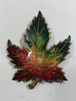 Vintage Enameled Red Green Yellow Autumn Maple Leaf Brooch Pin