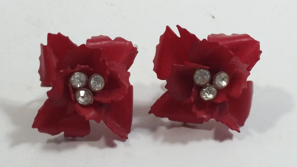 Vintage West Germany Clip On Red Flower Rhinestone Earrings