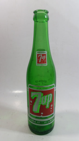 "Vintage 1960s 7up 10 oz Green Glass 9 1/2"" Soda Pop Bottle Vancouver"