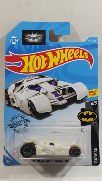 2019 Hot Wheels DC Comics Batman The Dark Knight Batmobile White Die Cast Toy Car Vehicle - New in Package Sealed