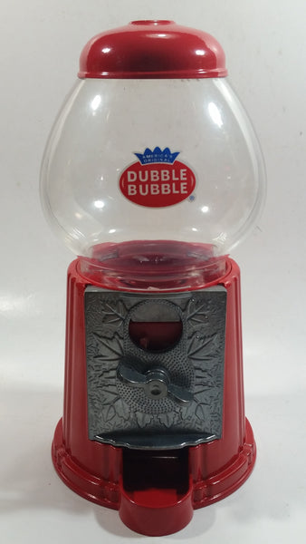 "Dubble Bubble Gumball Candy Dispenser Machine Coin Bank Metal with Plastic Globe 8 1/2"" Tall"