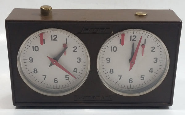 Vintage Jerger Tournament Chess Timer Clock Brown Made in Germany