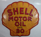 "Vintage Style Shell Motor Oil S.A.E. 30 Embossed Metal Sign 16 1/2"" x 17"""