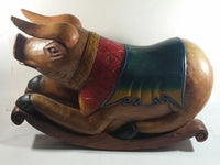 Vintage Super Rare Hand-carved Wooden Rocking Pig Made In Thailand