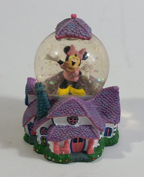 "Disney Parks Authentic Original Minnie Mouse on House Miniature 3 1/8"" Tall Snow Globe Collectible"