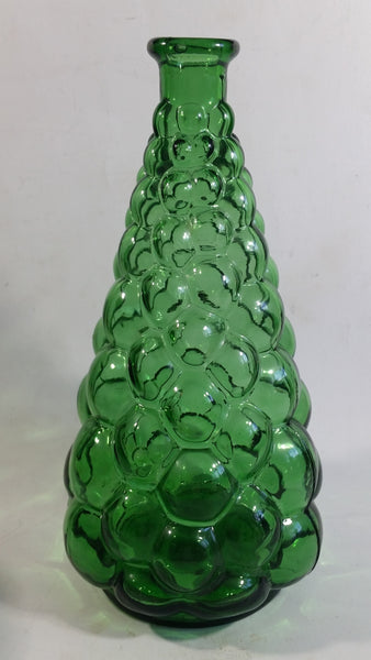 Vintage Mid Century Empoli Italy Hobnail Bubble Green Art Glass Liquor Bottle Decanter
