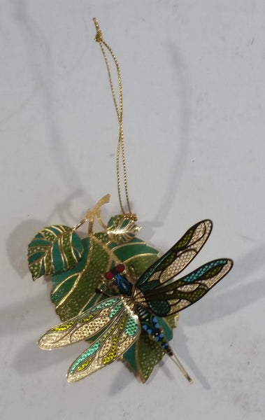 Baldwin 24KT Gold on Brass Green and Blue Dragon Fly on Leaves Christmas Tree Ornament