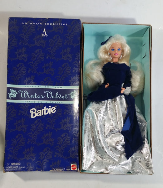 "1995 Avon Exclusive Mattel Winter Velvet Barbie Doll Toy New in Box ""First In A Series"""