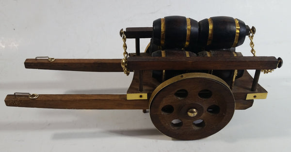 Vintage Horse Drawn Barrel Cart Wagon Wood and Brass Decorative Model
