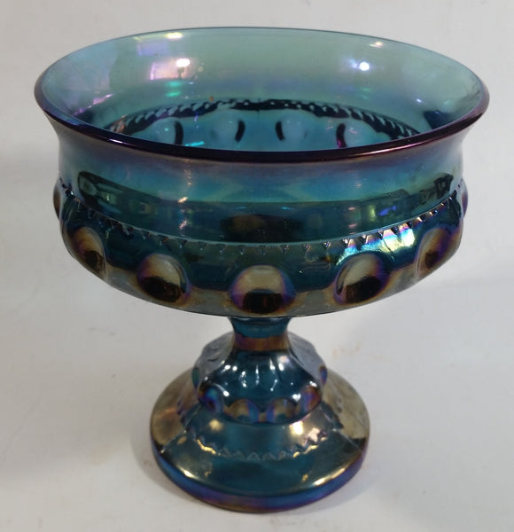 "Vintage Indiana Blue Purple Iridescent Rainbow 5 1/4"" Tall Carnival Glass Pedestal Style Thumbprint Compote Candy Dish"